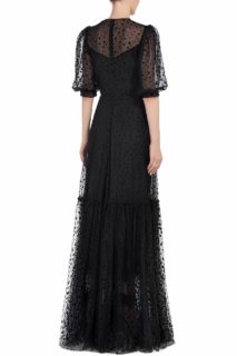 Redrea SS2057 black flocked tulle gown with illusion sweetheart neckline black