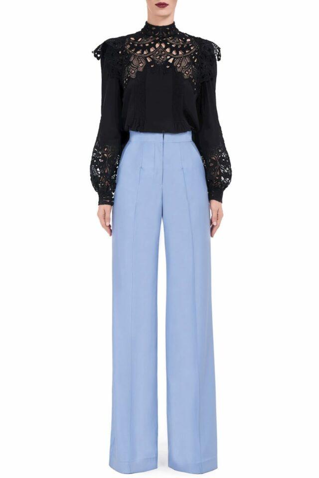 Annis FW2052 blue Refined Wool Pintuck Wide-Leg Trousers