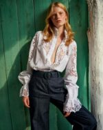 Milena SS2120 white linen button-down blouse, Zoey SS2128 high-waisted denim trousers with matching belt