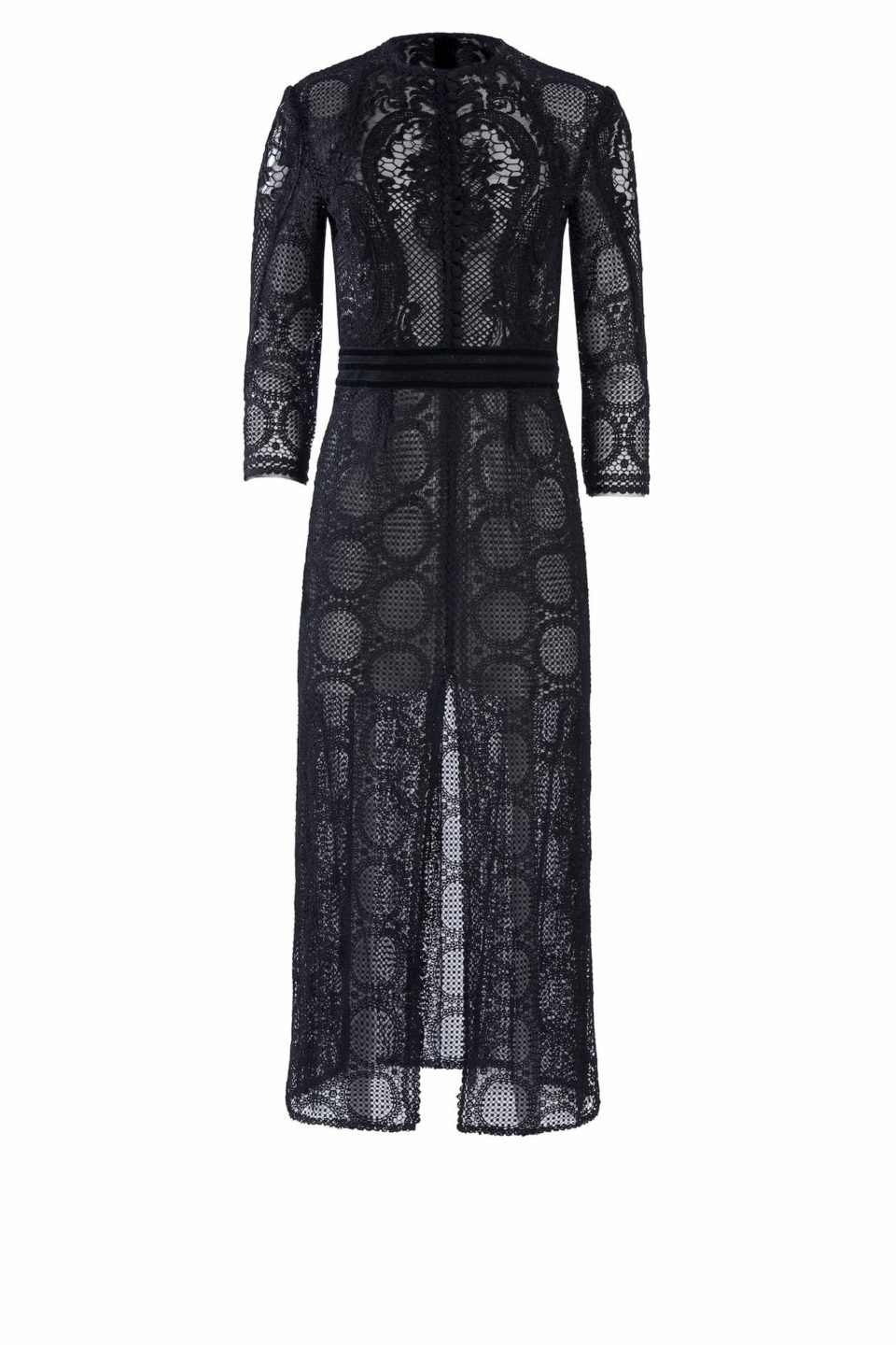 Ida FW2061 black Victorian Cordone Lace Sheath Dress with Button-Front Bodice and Mesh & Velvet Trim