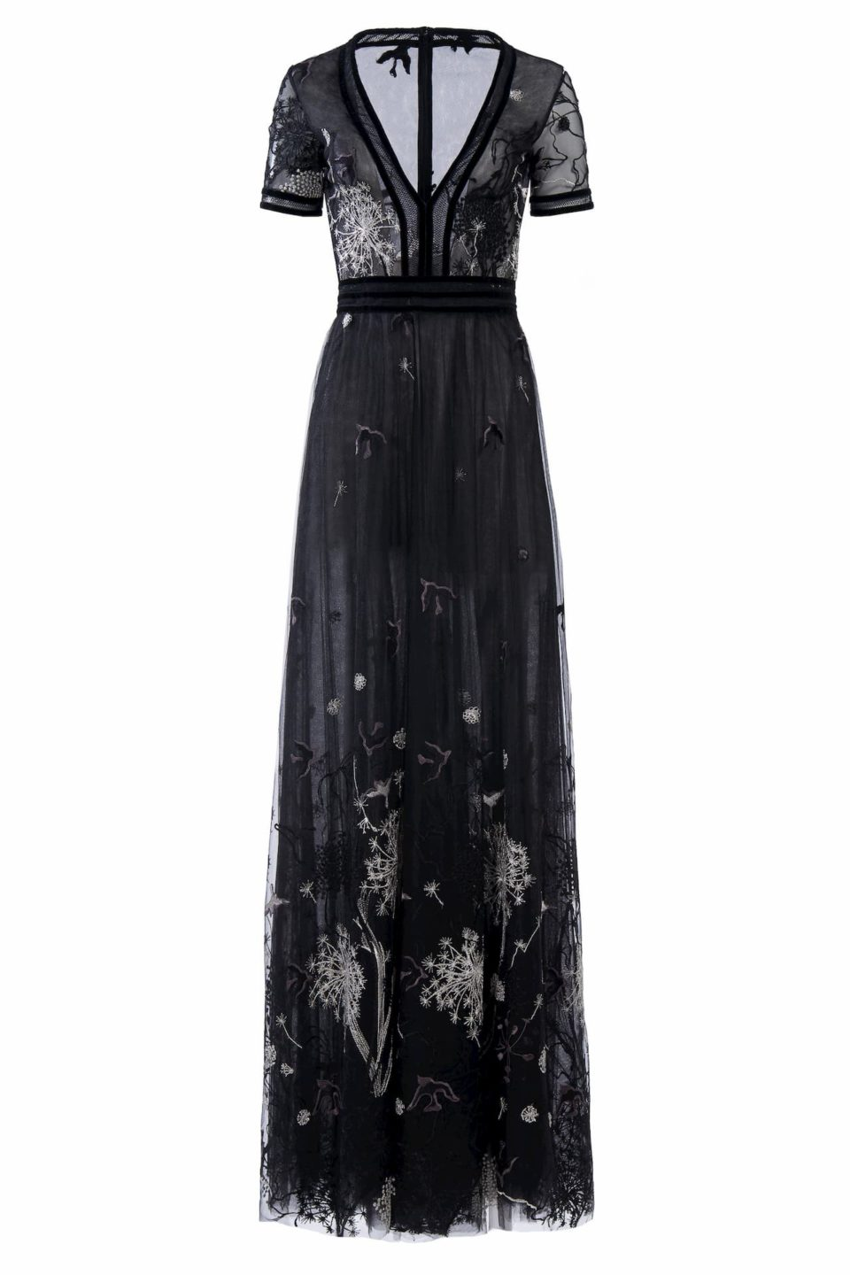 Noir Storytelling FW2036 black French Tulle Embroidered Cap-Sleeve Gown with Mesh Detail & Velvet Trim