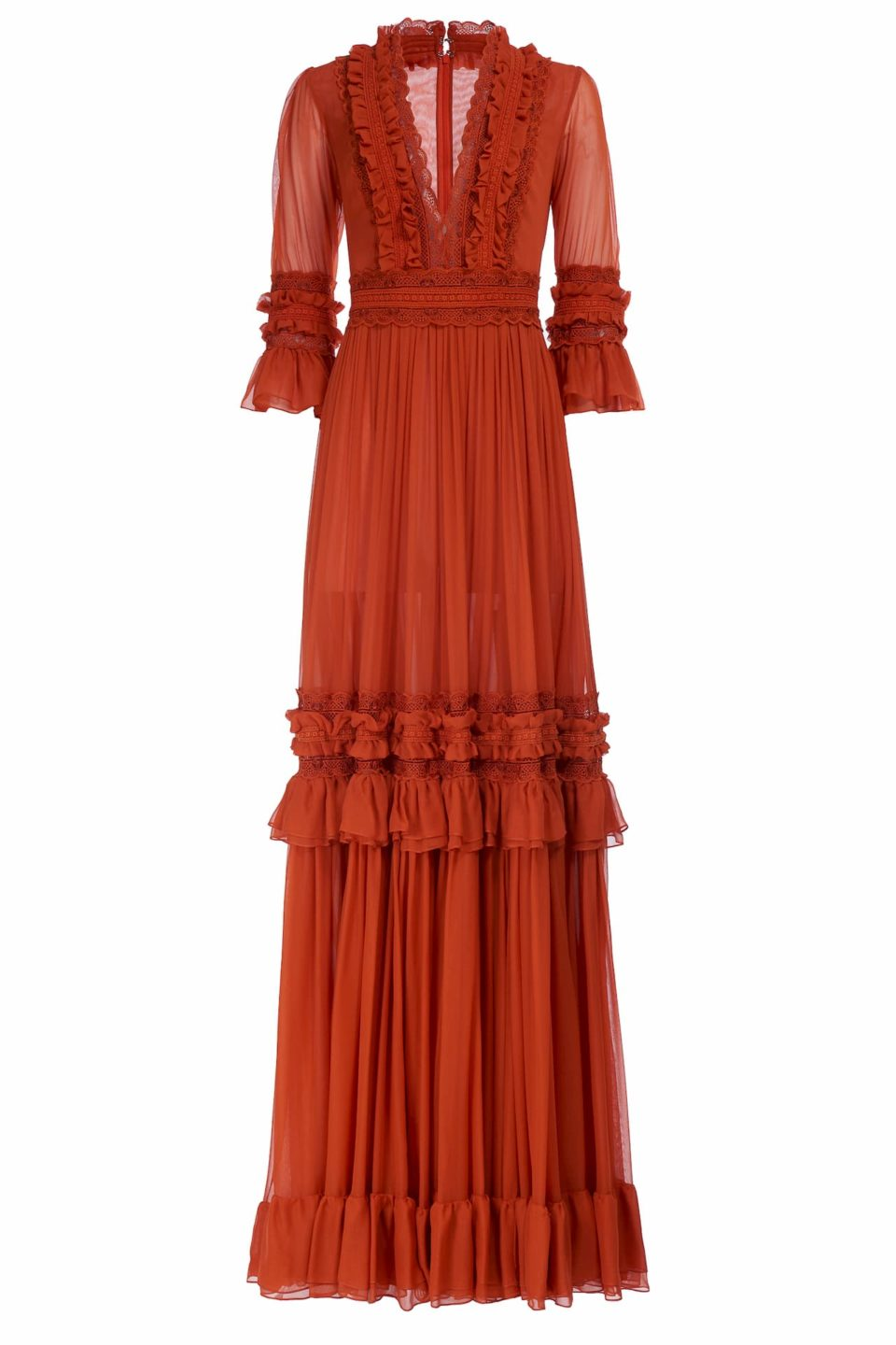 Shay FW2011 terracotta orange Silk Chiffon Plunging NecklineGown with Ruffle Detail & Lace Trim