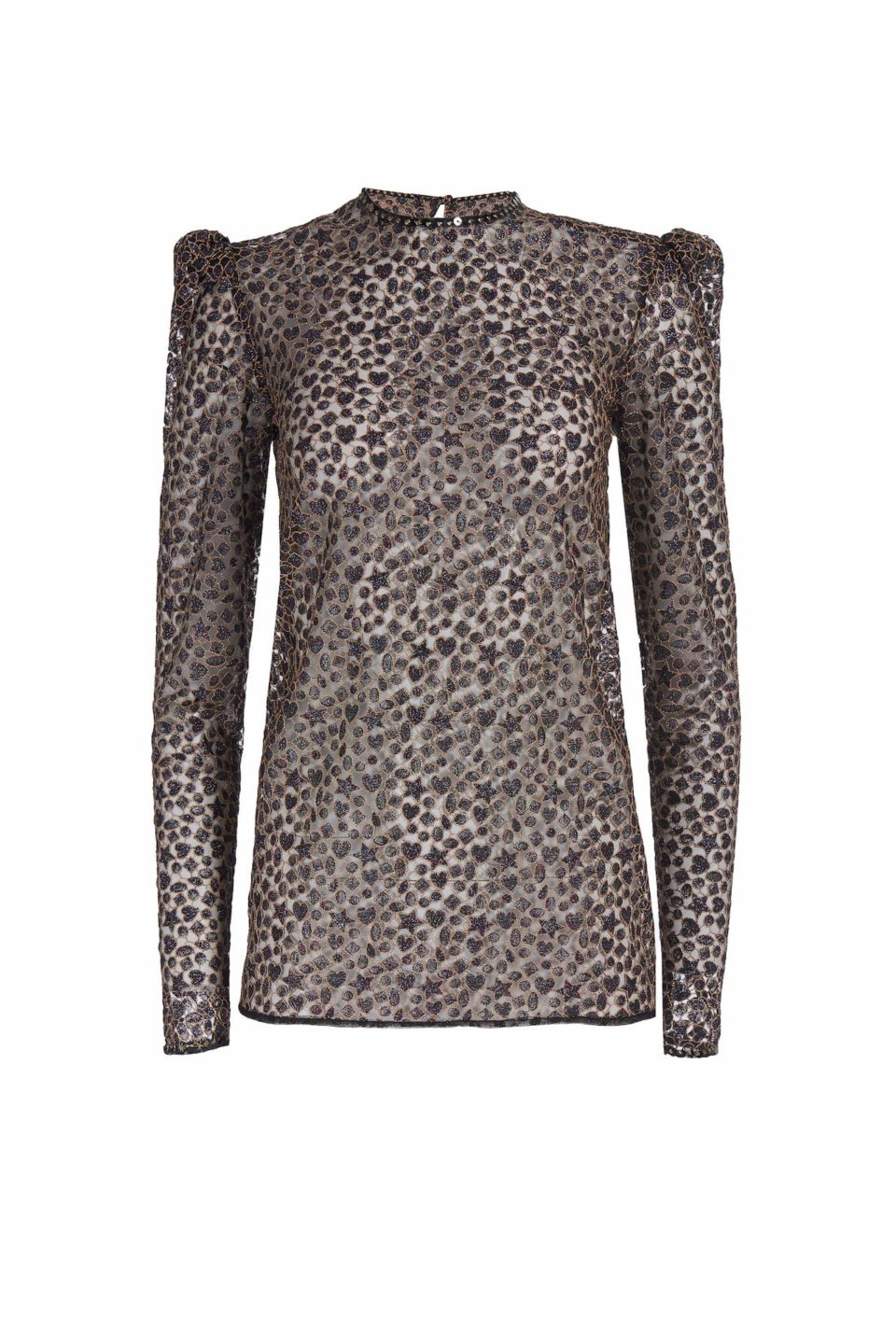 Roxanne FW2047 black Metallic Embroidered Tulle Puff-Sleeve Blouse