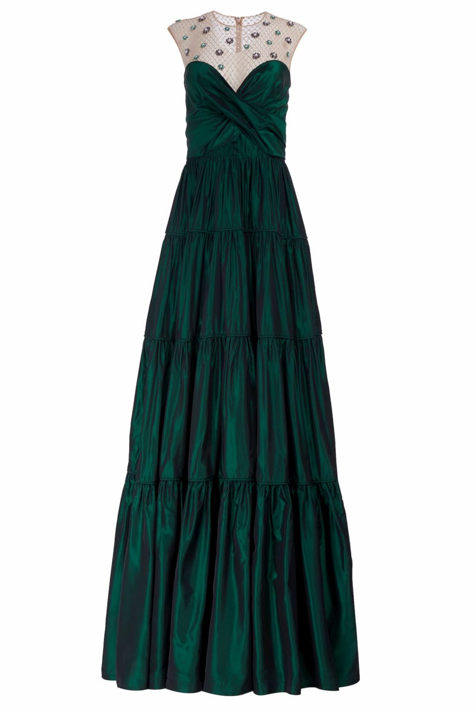 Genavieve FW2072 green Taffeta Tiered Sweetheart-Neckline Gown with Embellished Illusion-Neckline