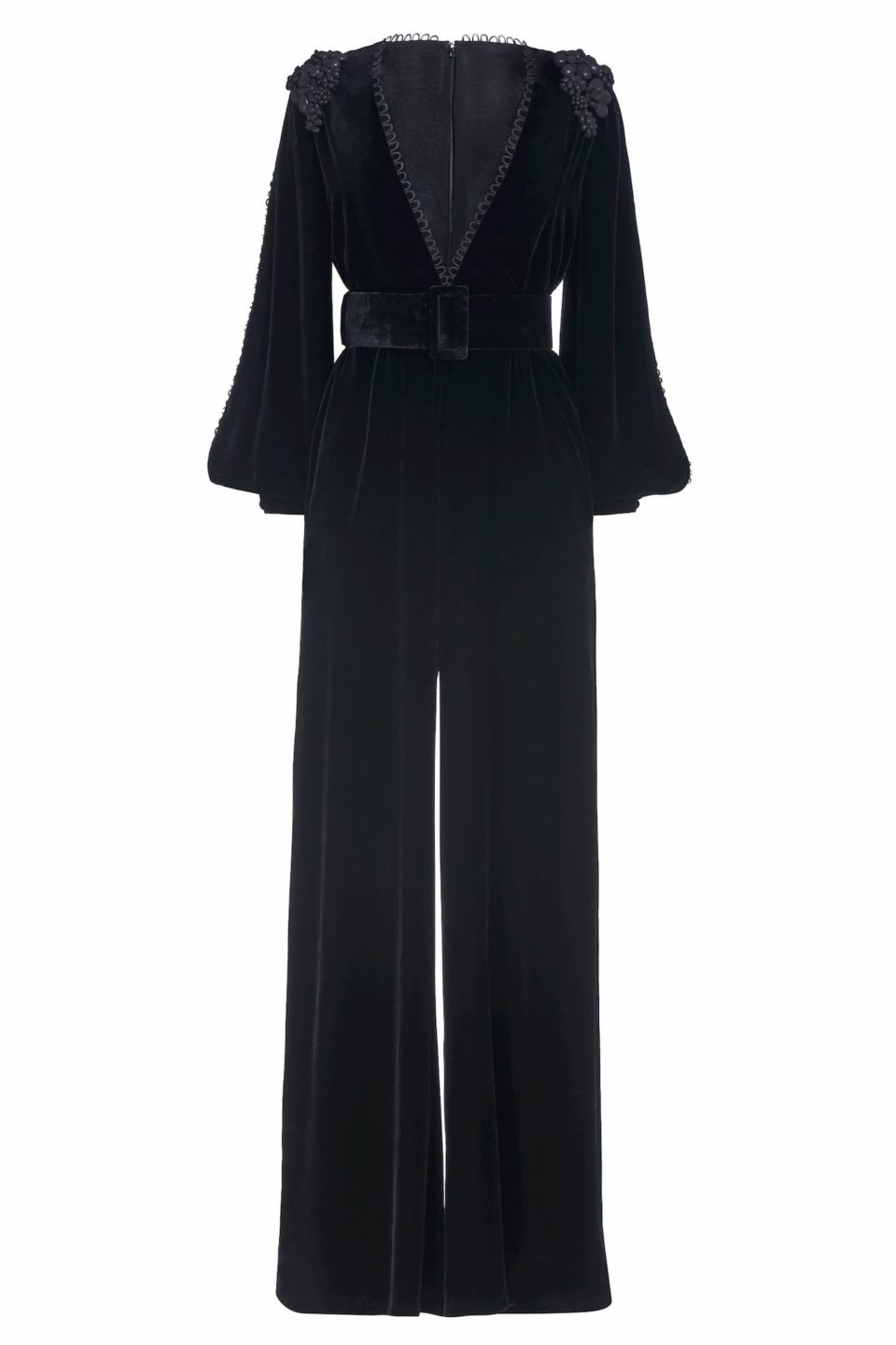 Nyx FW2027 black Silk Velvet Slit-Sleeve Jumpsuit with Shoulder Embellishment & Button-Loop Detail