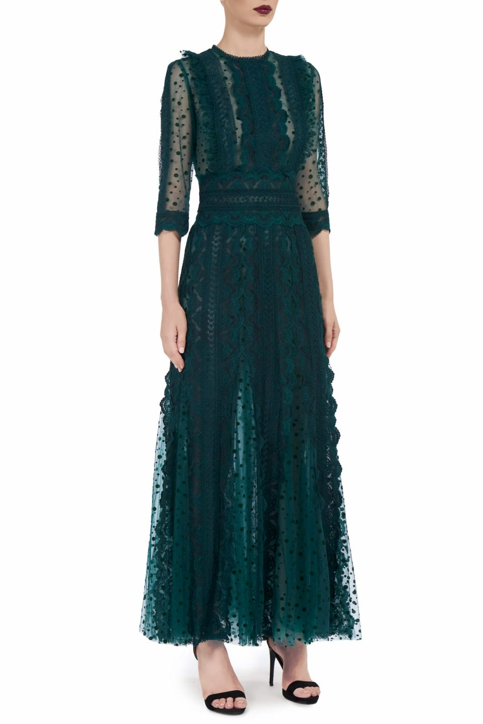 Cade FW2068 green Flocked French Tulle Ruffle Godet Dress with Embroidered & Guipure Lace