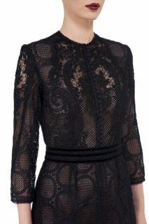 Ida FW2061 black Victorian Cordone Lace Sheath Dress with Button-Front Bodice and Mesh & Velvet Trim