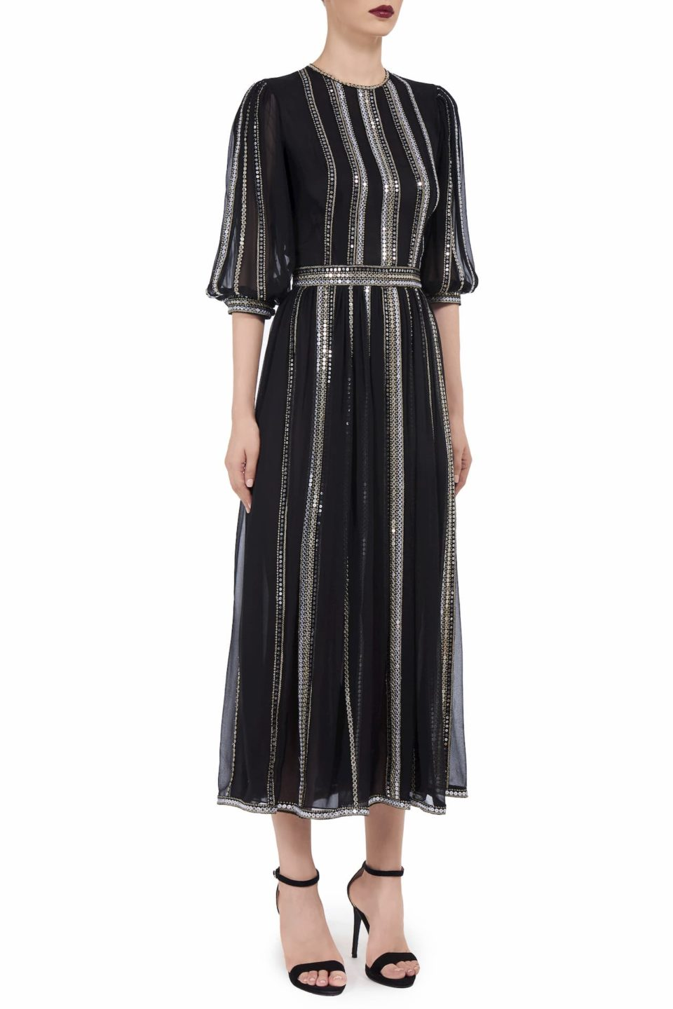 Constance FW2040 black Silk Chiffon Puff-Sleeve Dress with Linear Sequin Trim & Metallic Stitching