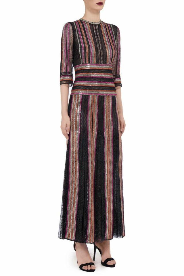 Devonne FW2042 black Glittered Tulle Mock-Neck Godet Gown with Linear Sequin Trim & Ladder Lace Detail