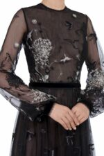 Midnight Storytelling FW2035 black French Tulle Embroidered Long-Sleeve Gown with Lace & Velvet Trim