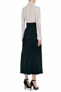 Severine FW2021 green white Victorian Cordone Lace Notched Neckline Dress with Tiered Silk Velvet Skirt