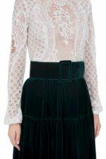 Severine FW2021 green white Victorian Cordone Lace Notched Neckline Dress with Tiered Silk Velvet Skirt