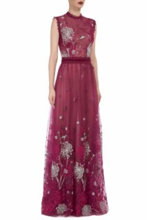 Ruby Noir Storytelling FW2037 red French Tulle Embroidered Gown with Lace & Velvet Trims
