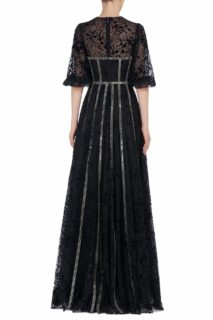 Linsey FW2043 black Flocked French Tulle Bustier Gown with Linear Sequin Trim & Beaded Embellishments