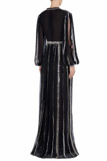Maven FW2041 black Silk Chiffon Plunging-Neckline Gown with Linear Sequin Trim & Metallic Stitching