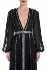 Maven FW2041 black Silk Chiffon Plunging-Neckline Gown with Linear Sequin Trim & Metallic Stitching