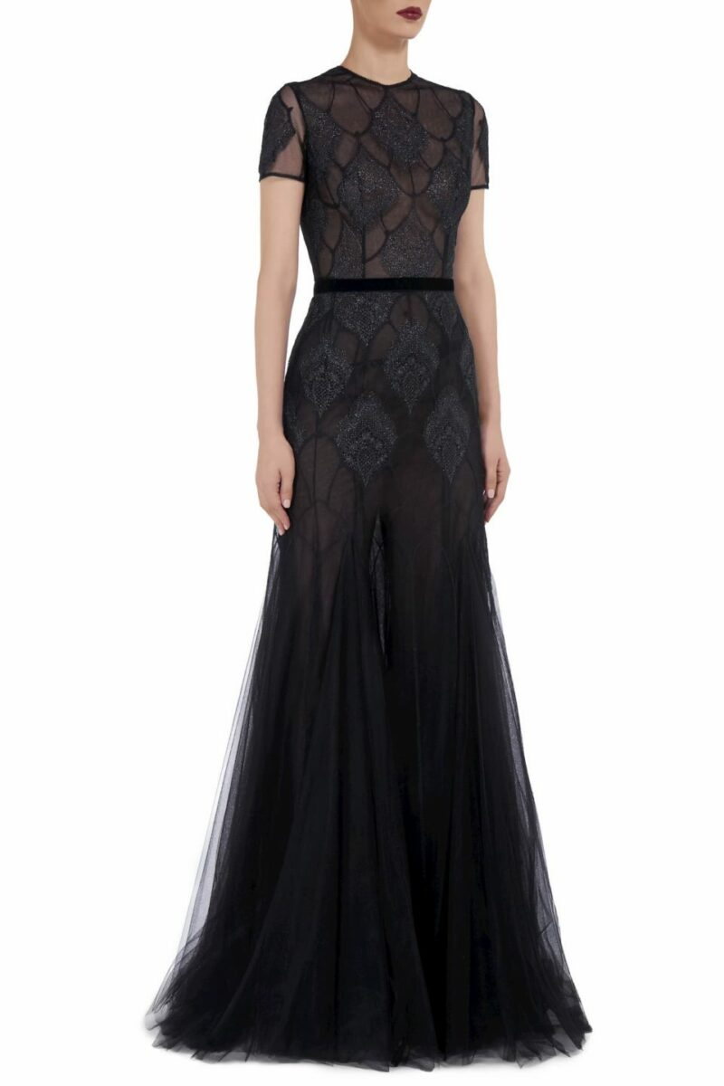 Fina FW2080 black French Tulle Metallic Stitch Gown with Metallic Chantilly Lace Appliques & Velvet Trim