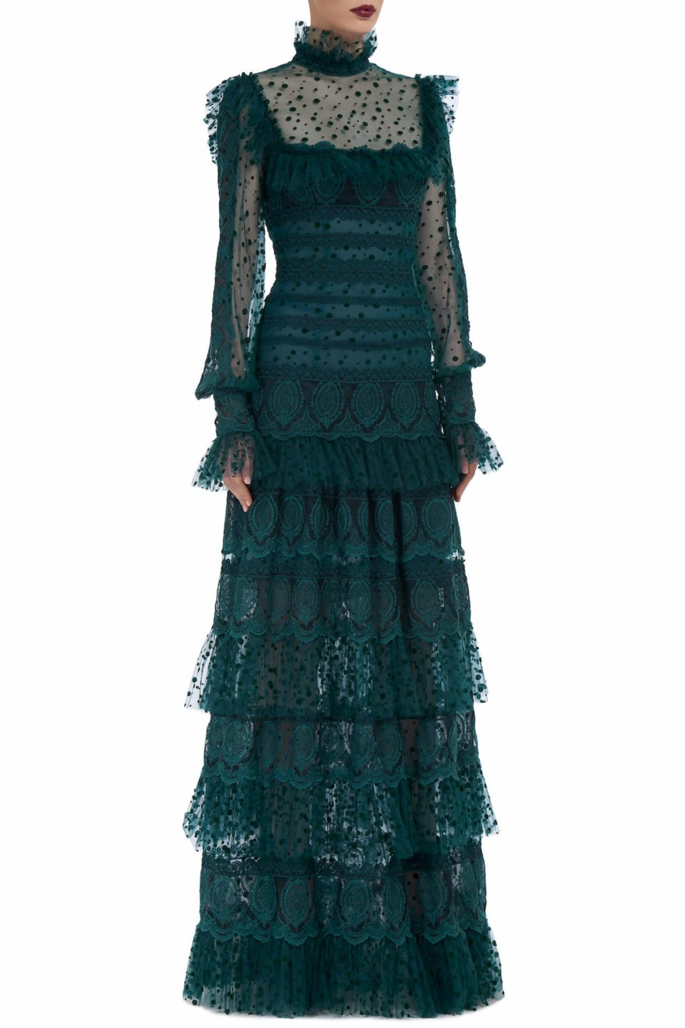 Caterina FW2069 green Flocked French Tulle Tiered Gown with Embroidered Lace & Ruffle Detail