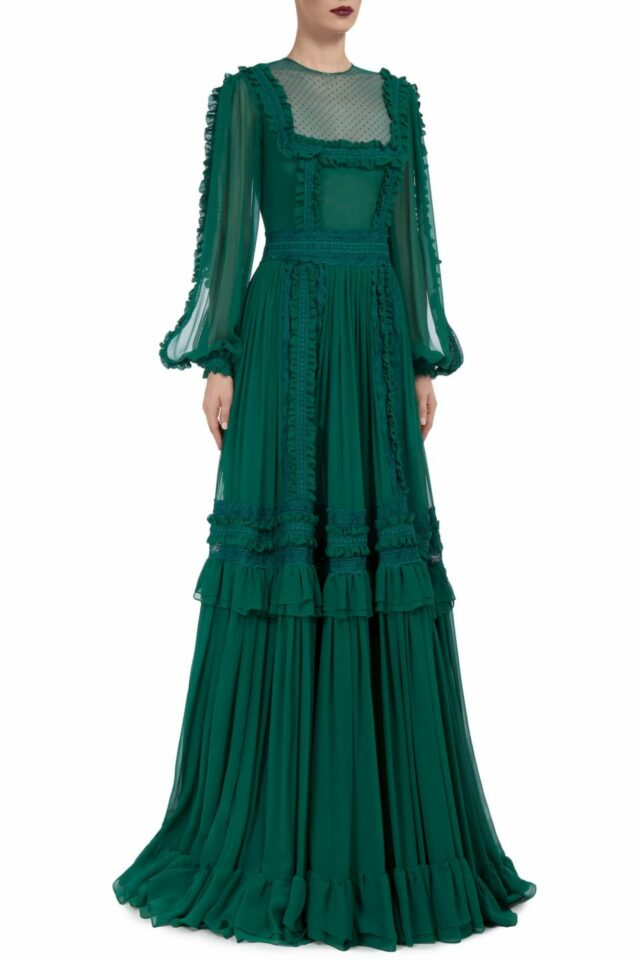 Mirelle FW2010 green Silk Chiffon Slit-Sleeve Gown with Dotted Tulle Illusion Bib-Neckline & Ruffle Detail