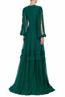 Mirelle FW2010 green Silk Chiffon Slit-Sleeve Gown with Dotted Tulle Illusion Bib-Neckline & Ruffle Detail