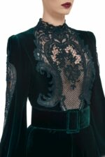 Marcelle FW2020 green Silk Velvet Bishop-Sleeve Gown with Edwardian Cordone Lace Bodice & Bias -Cut Skirt