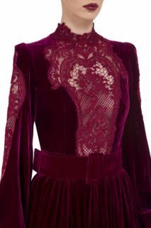 Adelina FW2022 cherry red Silk Velvet Tiered Gown with Victorian Corded Lace Bodice & Sleeve Detail