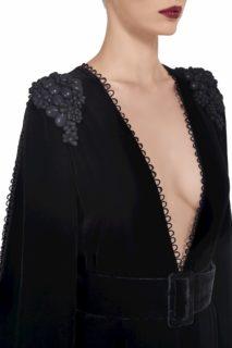 Nyx FW2027 black Silk Velvet Slit-Sleeve Jumpsuit with Shoulder Embellishment & Button-Loop Detail