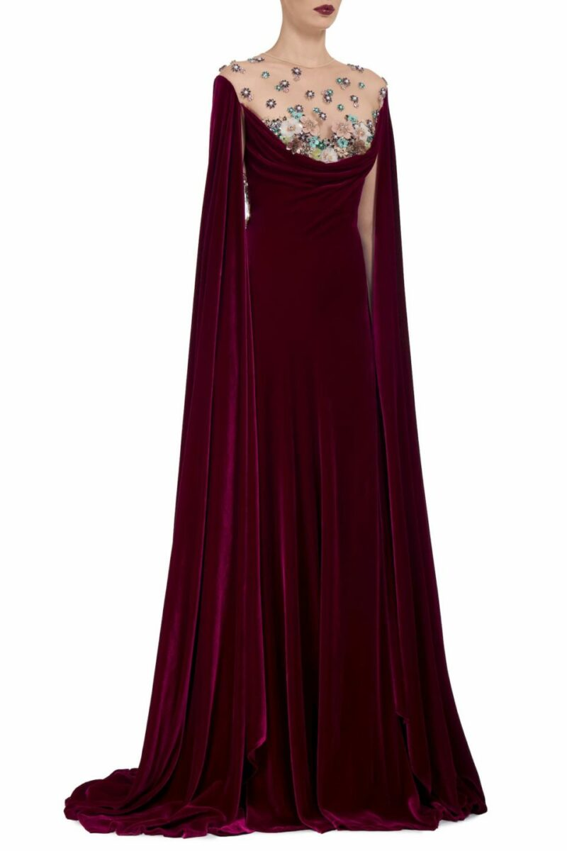 Avery FW2025 cherry red Silk Velvet Cowl-Neck Gown with Embellished Illusion Neckline/ Back & Floor-Length Sleeves