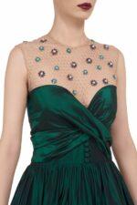 Genavieve FW2072 green Taffeta Tiered Sweetheart-Neckline Gown with Embellished Illusion-Neckline