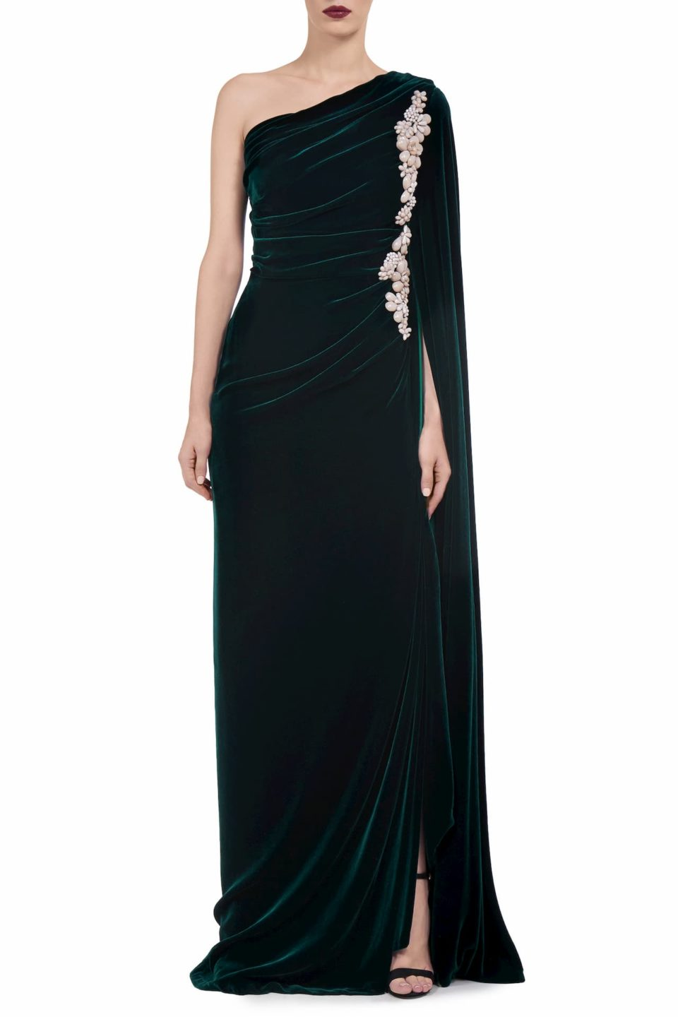 Edwina FW2023 green Silk Velvet Draped One-Shoulder Gown with Embellishment & Ruching Detail