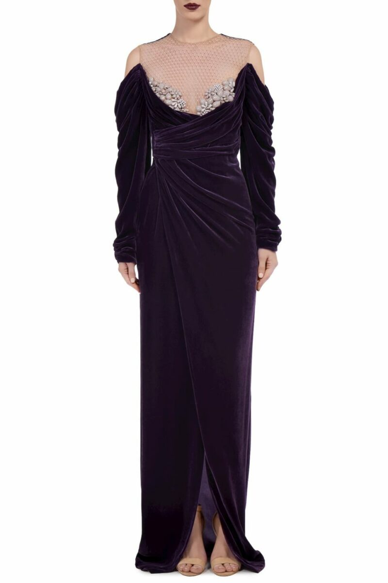 Anabelle FW2026 purple Silk Velvet Draped Wrap Gown with Embellished Illusion-Neckline & Draped Off-Shoulder Sleeves