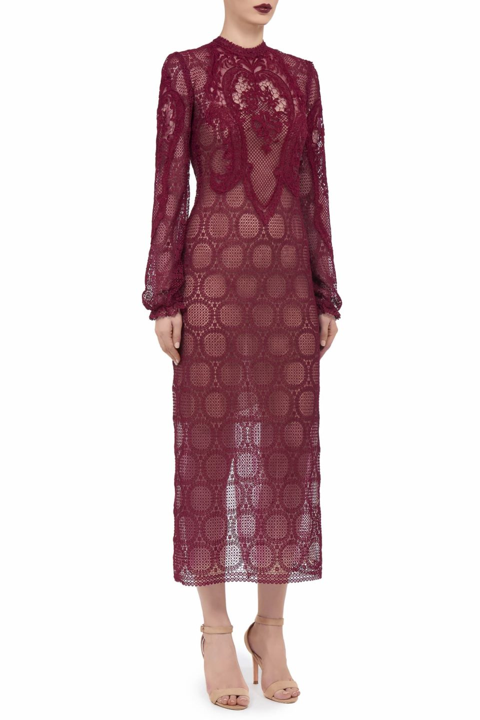 Denna FW2060 red Victorian Cordone Lace Sheath Dress with Mock-Neckline