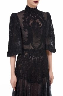 Avellana FW2065 black Glittered Tulle Puff-Sleeve Gown with Victorian Cordone Lace