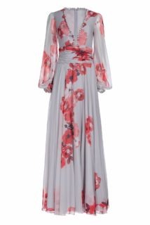 Brie PS1911 grey chiffon floral-printed gown with sheer bishop sleeves