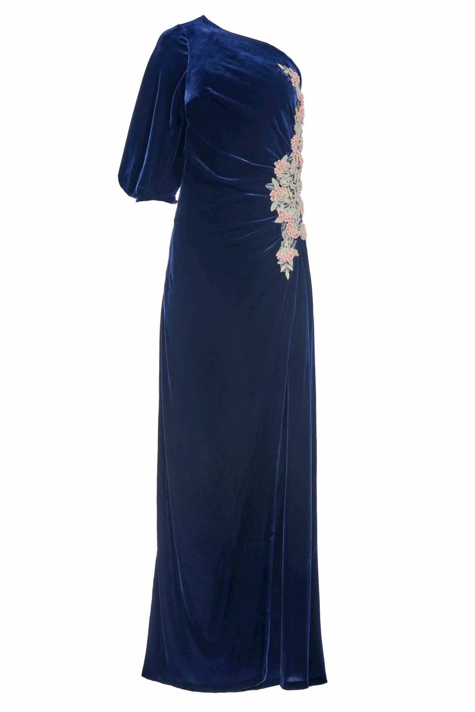 Piera FW2016 Blue Silk Velvet One-Shoulder Draped Gown with Embellishment