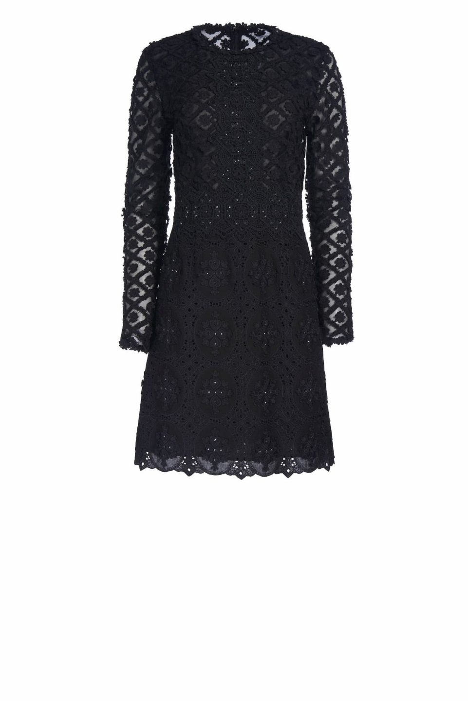 Jenalie CR1904 Black guipure lace mini dress with swarovski crystals