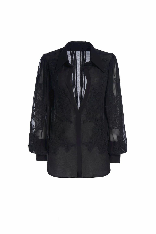 Lalie PS2066 Black Silk chiffon buttondown blouse with lace appliques