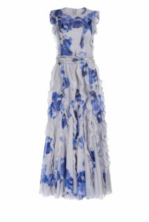 Brielle PS1913 Grey chiffon dress with blue flower and ruffle detail