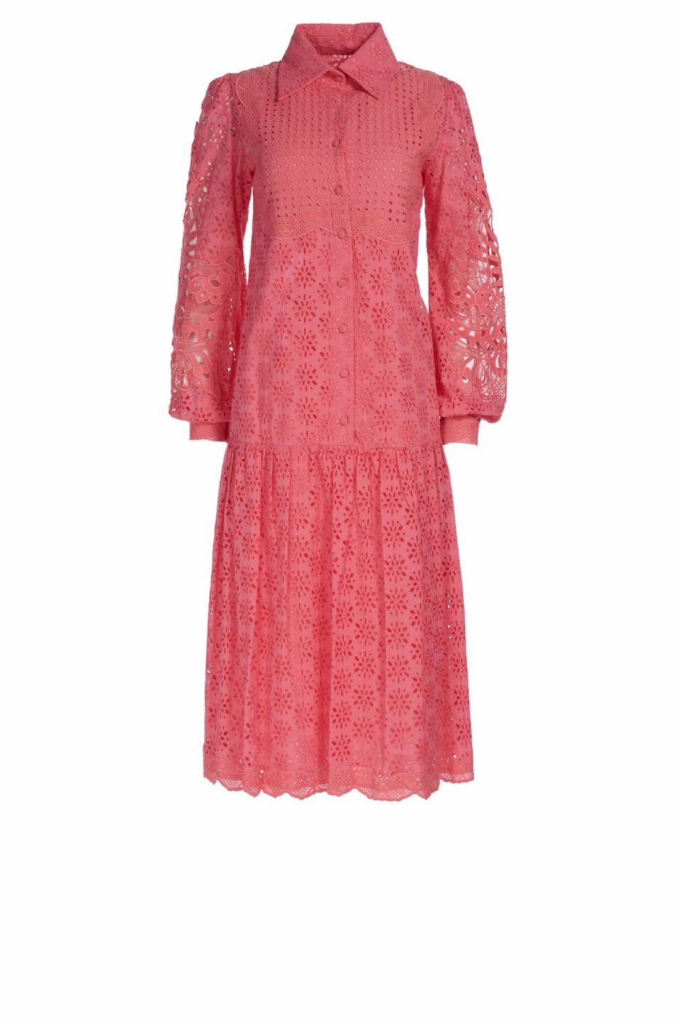 Twyla SS1943 Coral cotton broderie anglaise shirtdress