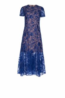 Serena PS1952 Blue floral sequin midi dress with short sleeves