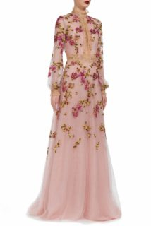 Lucinda PR1940 Pink floral-embroidered french tulle with high neckline