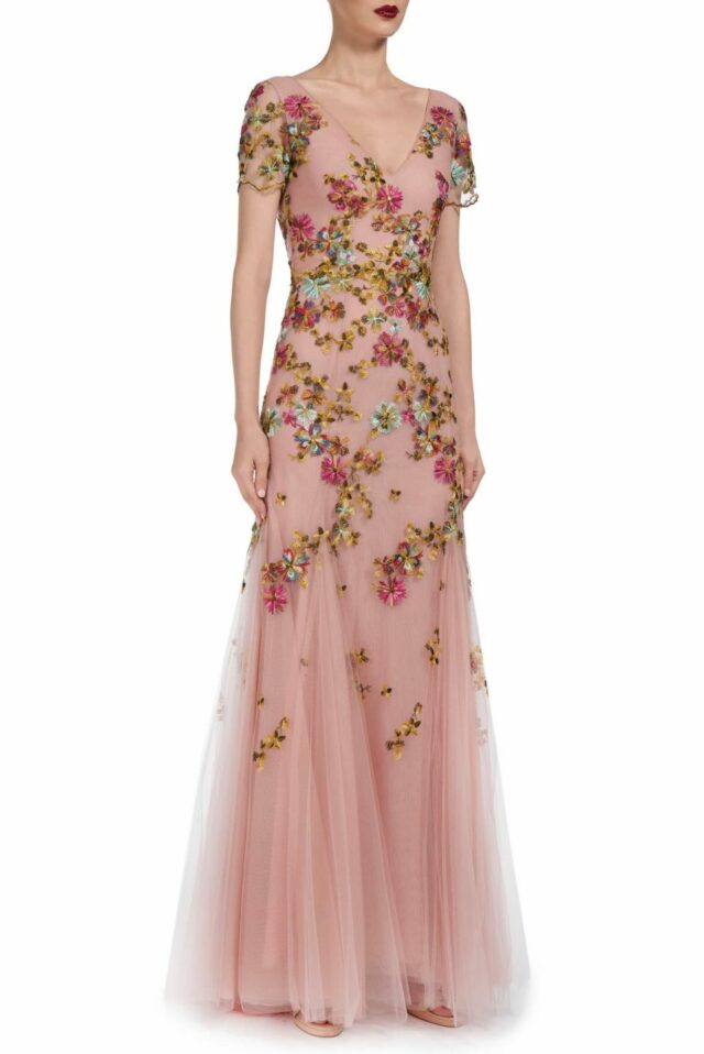 Rosa PS1942 pink floral-embroidered french tulle gown