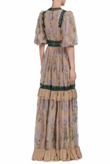 Sera PS1986 nude silk chiffon gown with french tulle embroidered flowers