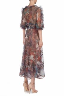 Lelette PS1981 multicolored french tulle dotted midi dress with ruffle detail