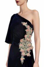 Piera FW2016 Blue Silk Velvet One-Shoulder Draped Gown with Embellishment