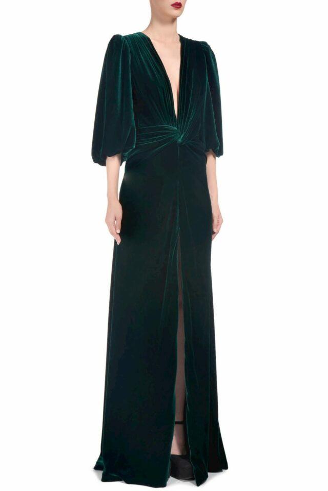 Hanna FW2015 Green Silk Velvet Plunging Neckline Knotted Gown