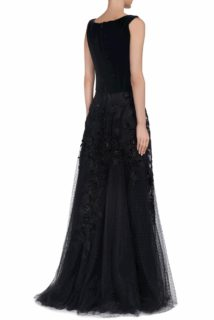 Raina CR1909 Black Dotted Tulle skirt with velvet flower appliques and sequins