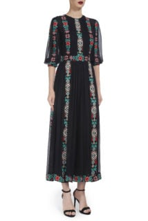 Norinna PR1940 Black silk chiffon dress with ethnic embroidery