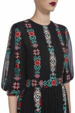 Norinna PR1940 Black silk chiffon dress with ethnic embroidery