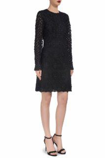 Jenalie CR1904 Black guipure lace mini dress with swarovski crystals